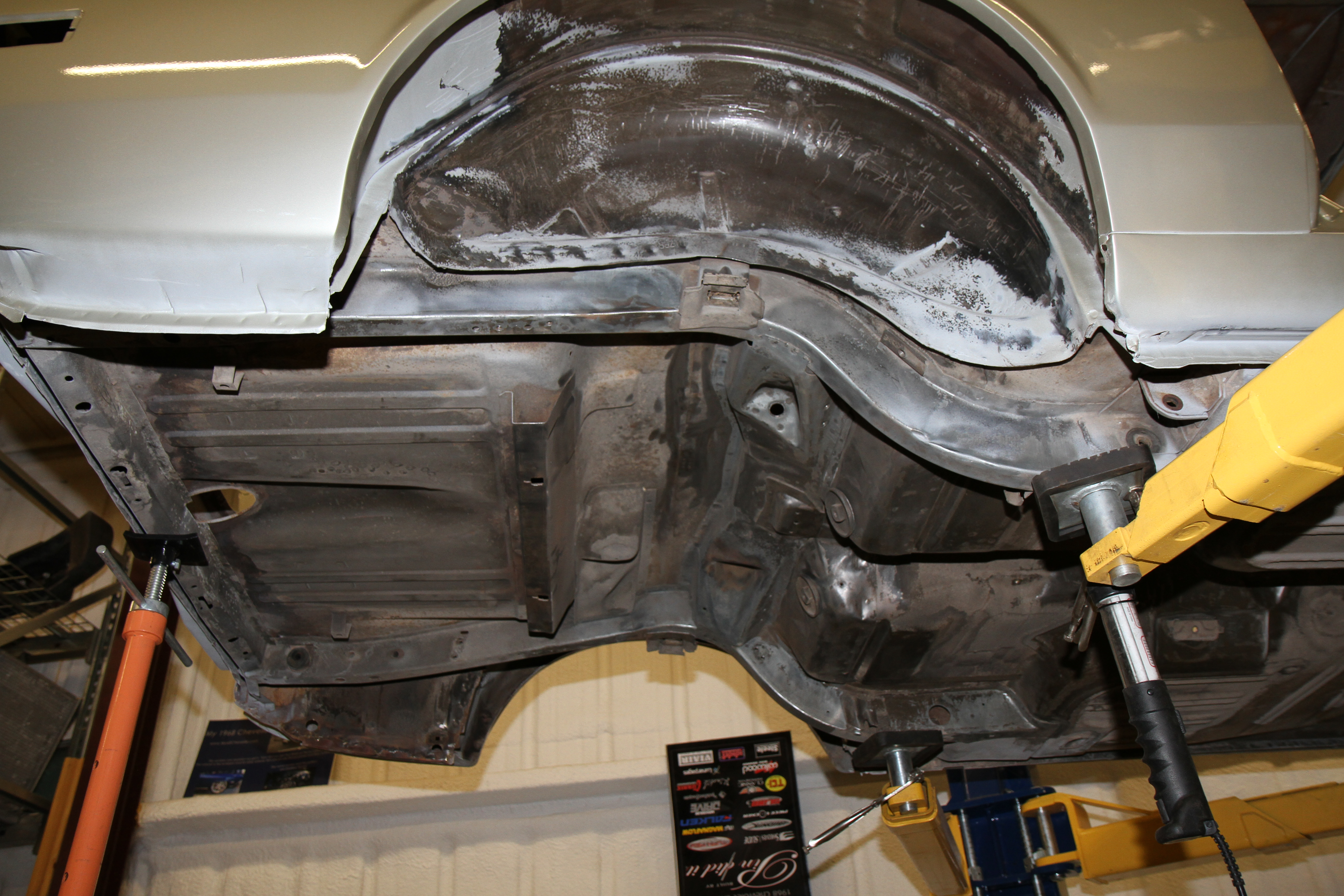 Rear with the floor pan getting ready for paint